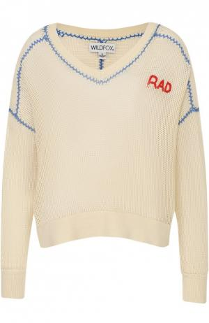Полупрозрачный пуловер с V-образным вырезом и контрастной отделкой Wildfox. Цвет: белый