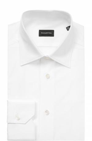 Хлопковая сорочка с воротником кент Ermenegildo Zegna. Цвет: белый