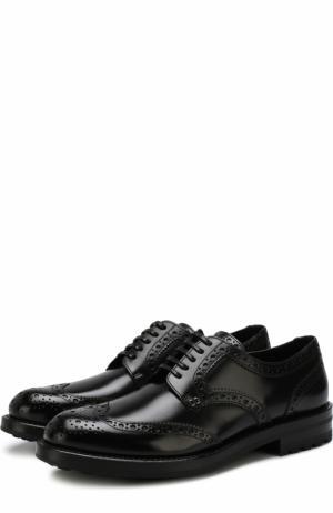 Кожаные дерби с брогированием Dolce & Gabbana. Цвет: черный
