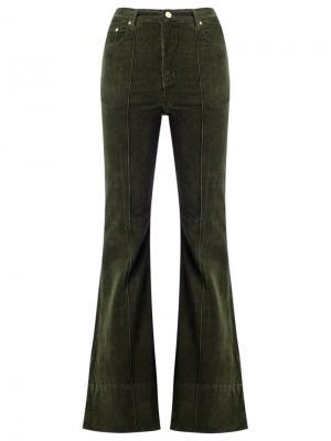 Бархатные расклешенные брюки с высокой талией Amapô. Цвет: зелёный