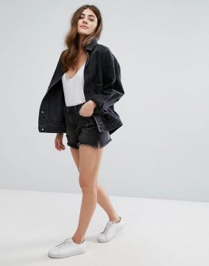 New Look Джинсовые шорты с эффектом поношенности и необработанным краем Loo. Цвет: черный