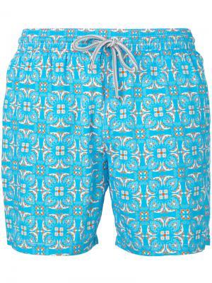 Пляжные шорты с мозаичным принтом Capricode. Цвет: синий