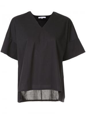 Блузка с V-образным вырезом 08Sircus. Цвет: чёрный