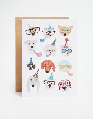 OHH DEER Открытка Party Dogs. Цвет: мульти