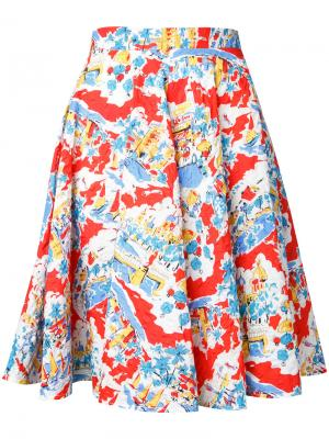 А-образная юбка с цветочным принтом Mikio Sakabe. Цвет: многоцветный