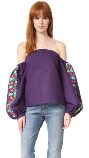 Топ с открытыми плечами и вышивкой ONE by LAZULI. Цвет: сине-фиолетовый