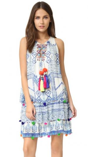 Короткое шелковое платье ONE by Hemant and Nandita. Цвет: голубой