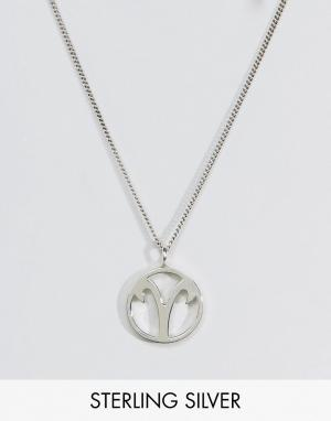 Fashionology Серебряное ожерелье со знаком зодиака Овен. Цвет: серебряный