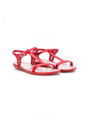 Сандалии с Т-образным ремешком Dolce & Gabbana Kids. Цвет: красный
