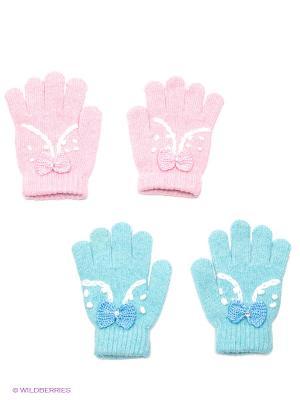 Перчатки, 2 пары FOMAS. Цвет: голубой, бледно-розовый