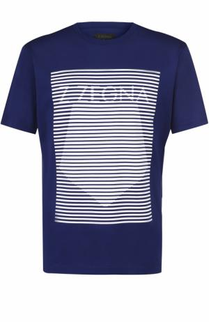 Хлопковая футболка с контрастным принтом Z Zegna. Цвет: синий
