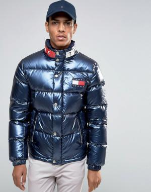 Tommy Jeans Темно-синяя пуховая куртка в стиле 90‑х. Цвет: темно-синий