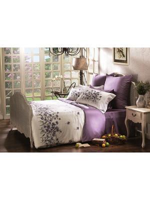 Комплект постельного белья Евро Очарование ARTILIVI. Цвет: лиловый, белый