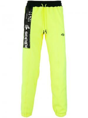 Спортивные брюки с контрастной панелью Adidas Originals By Alexander Wang. Цвет: жёлтый и оранжевый