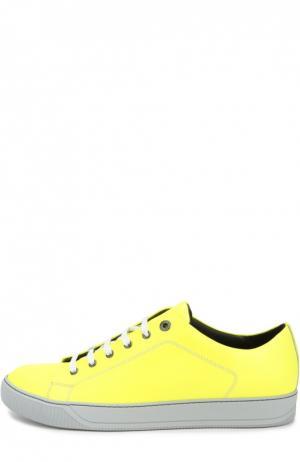 Кожаные кеды на шнуровке Lanvin. Цвет: желтый