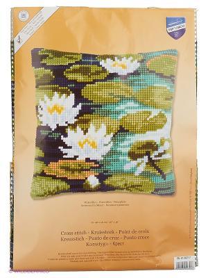 Набор для вышивания лицевой стороны наволочки Водяные лилии 40*40см Vervaco. Цвет: зеленый, белый, голубой, синий