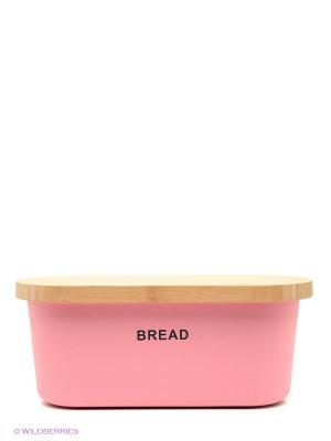 Хлебница с разделочной доской Frybest. Цвет: розовый