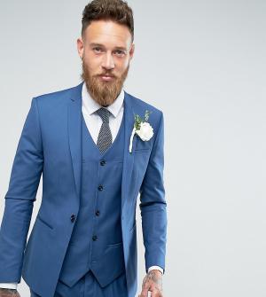 Noak Синий приталенный пиджак с ровным краем Wedding. Цвет: синий