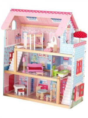 Кукольный домик Открытый коттедж KidKraft. Цвет: светло-голубой, розовый