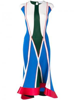 Платье с геометрическим принтом Esteban Cortazar. Цвет: синий