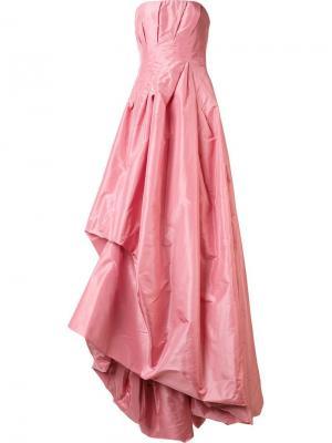 Длинное драпированное платье без бретелей Oscar de la Renta. Цвет: розовый и фиолетовый