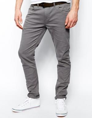 Farah Узкие джинсы из серой саржи Drake. Цвет: серый