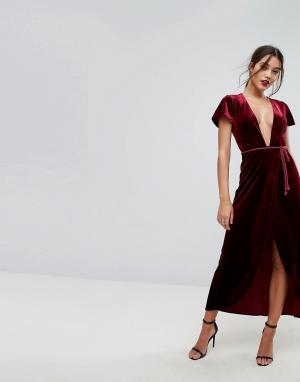 Lioness Бархатное платье макси с запахом и веревочным поясом. Цвет: красный