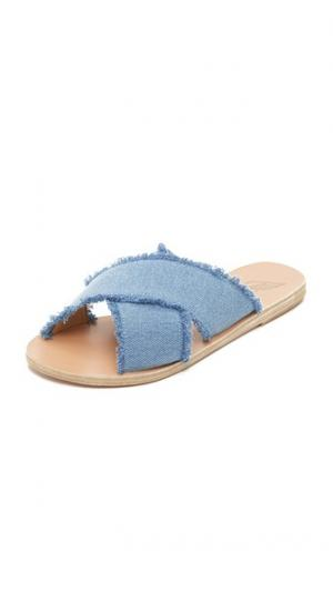 Сандалии без задников Thais из денима Ancient Greek Sandals. Цвет: светлый деним