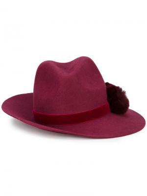Шляпа-федора Valentina с помпоном Yosuzi. Цвет: красный