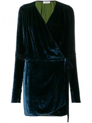 Приталенное платье с запахом Attico. Цвет: синий