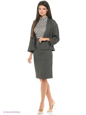 Костюм(жакет+юбка+водолазка) ADZHEDO. Цвет: серый, темно-серый