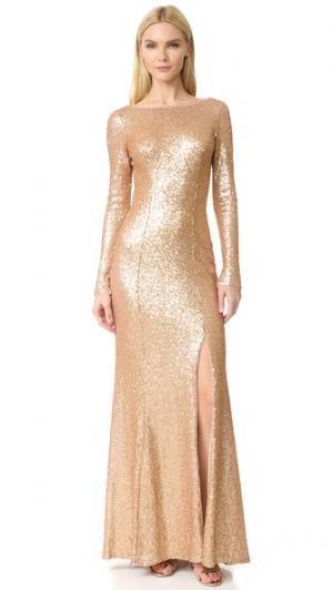 Вечернее платье с блестками Giselle Bateau Theia. Цвет: матовое розовое золото