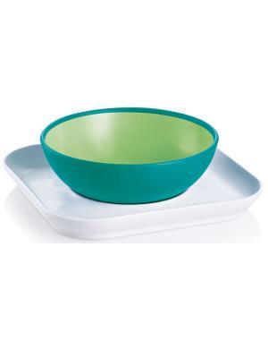 Набор тарелок для детского питания MAM Babys  bowl& plate, от 6+ месяцев. Цвет: зеленый