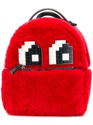 Пушистый рюкзак Les Petits Joueurs. Цвет: красный