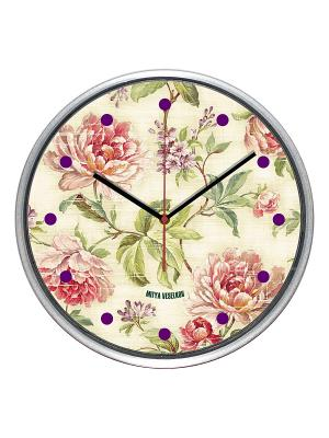 Часы настенные Mitya Veselkov. Цвет: белый, зеленый, розовый