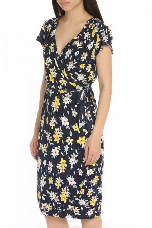 Яркое платье с поясом YUMI. Цвет: navy