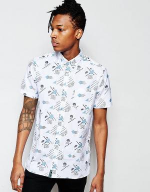 Wasted Youth Рубашка с короткими рукавами и узором в стиле 90-х. Цвет: белый