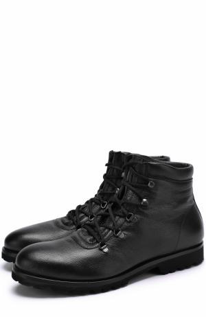 Высокие кожаные ботинки на шнуровке A. Testoni. Цвет: черный