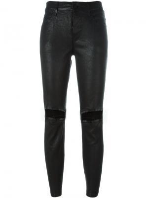 Кожаные брюки с потертой отделкой Rta. Цвет: чёрный