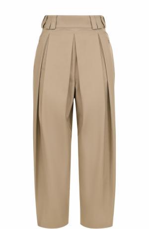 Укороченные брюки с защипами Alexander Wang. Цвет: бежевый