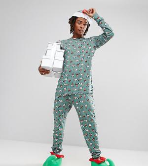 Chelsea Peers Пижама с новогодним принтом и конусообразной шапкой. Цвет: зеленый