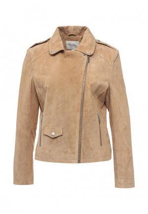 Куртка кожаная Cortefiel. Цвет: бежевый
