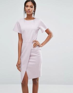 Closet London Платье с короткими рукавами и разрезом спереди. Цвет: фиолетовый
