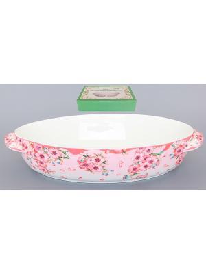 Блюдо шубница для запекания и сервировки Сакура Elan Gallery. Цвет: белый, розовый