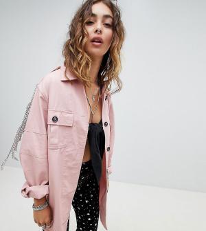 Sacred Hawk Джинсовая куртка-рубашка с цепочками. Цвет: розовый