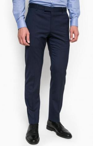 Синие зауженные шерстяные брюки Strellson. Цвет: синий