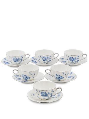 Чайный набор на 6 перс. Голубая бабочка (Pavone) Pavone. Цвет: белый
