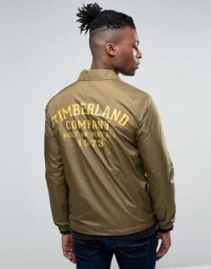Timberland Узкая спортивная куртка с логотипом на спине. Цвет: зеленый