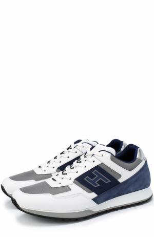 Комбинированные кроссовки на шнуровке Hogan. Цвет: белый
