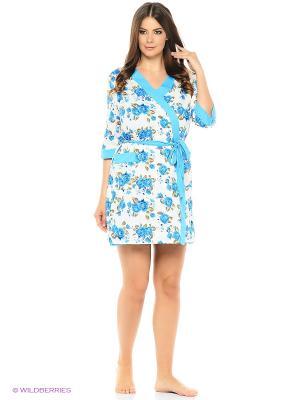 Комплект домашней одежды ( халат, ночная сорочка) HomeLike. Цвет: голубой